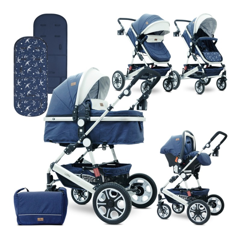 Πολυκαρότσι Lora 3 in 1 Dark Blue Birds Lorelli